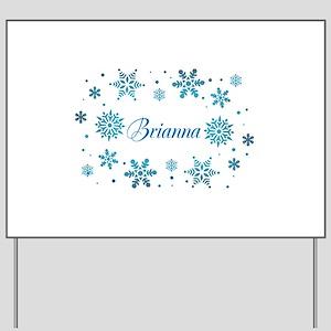 Custom name Snowflakes Yard Sign