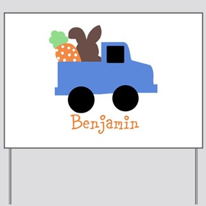 Easter time truck personalized Yard Sign