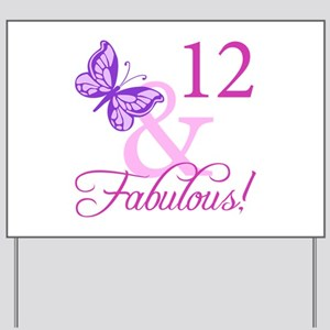 Fabulous 12th Birthday Yard Sign