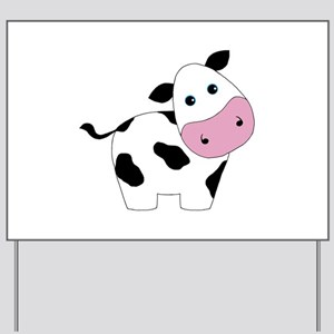 Cute Black and White Cow Yard Sign