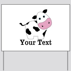Personalizable Black White Cow Yard Sign