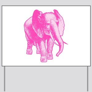 Pink Elephant Illustration Yard Sign