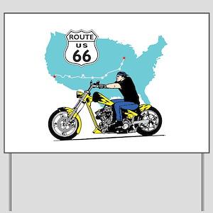 Route 66 Biker Yard Sign