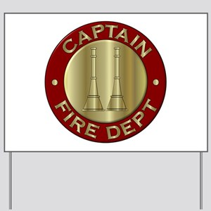 Fire captain emblem bugles Yard Sign