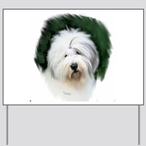 old english sheepdog portrait Yard Sign