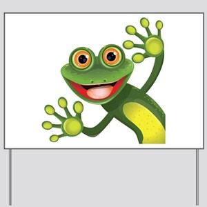Happy Green Frog Yard Sign