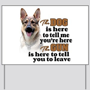 Beware of Dog/Gun (German Shepherd) Yard Sign