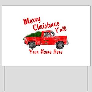 Merry Christmas Yall Yard Sign