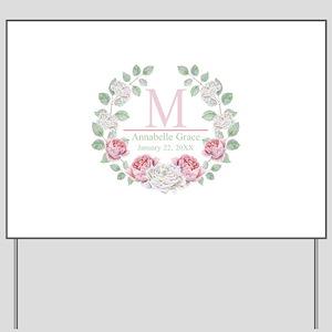 Baby Girl Floral Monogram Yard Sign