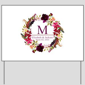 Boho Wreath Wedding Monogram Yard Sign