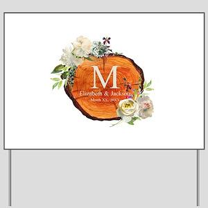 Floral Wood Wedding Monogram Yard Sign