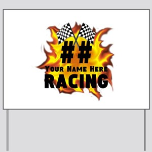 Flaming Racing Yard Sign