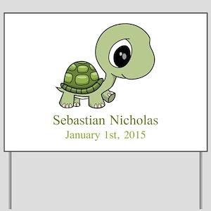 CUSTOM Green Baby Turtle w/Name and Date Yard Sign