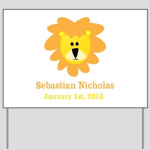 CUSTOM Lion w/Baby Name and Birth Date Yard Sign
