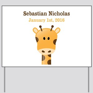 CUSTOM Giraffe w/Baby Name and Birthdate Yard Sign