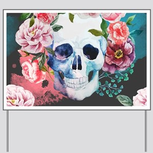 Flowers and Skull Yard Sign