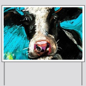 Cow Painting Yard Sign