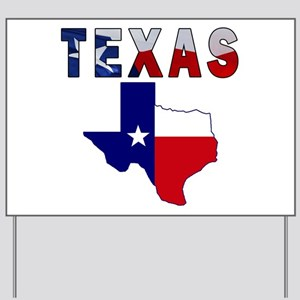 Flag Map With Texas Yard Sign
