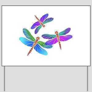 Dive Bombing Iridescent Dragonflies Yard Sign