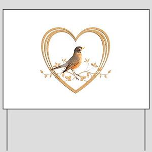 Robin in Heart Yard Sign