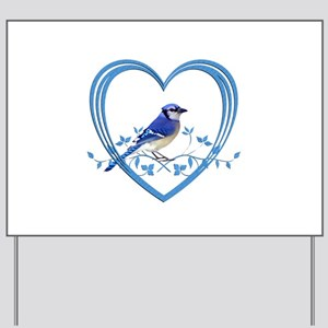 Blue Jay in Heart Yard Sign
