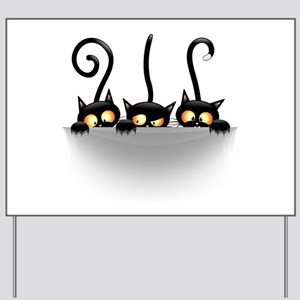 Three Naughty Playful Kitties Yard Sign