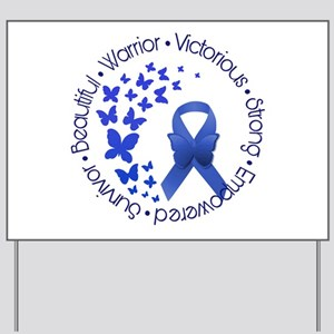 Blue Awareness Ribbon Yard Sign