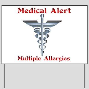 Multipe Allergies Medical Alert Yard Sign