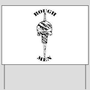 Art_Rogh men hollow logo text warped2 Yard Sig