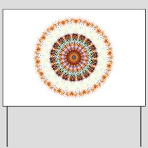 Detailed Orange Earth Mandala Yard Sign