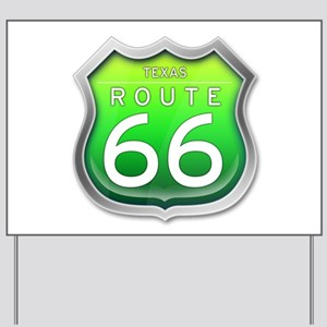 Texas Route 66 - Green Yard Sign