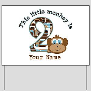 2nd Birthday Monkey Personalized Yard Sign