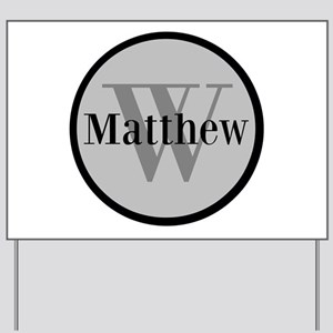 Gray Name and Initial Monogram Yard Sign