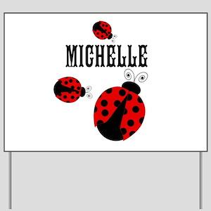 Cute Red   Black Ladybugs Name Yard Sign
