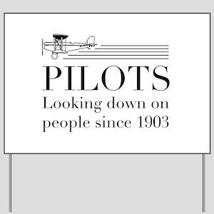 Pilots looking down people Yard Sign