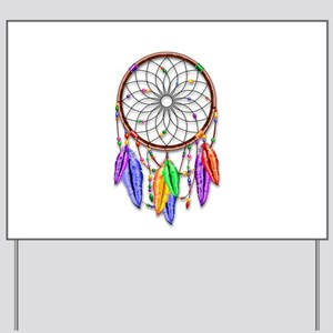 Dreamcatcher Rainbow Feathers Yard Sign