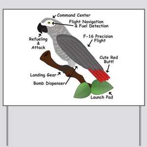 Anatomy of an African Grey Parrot Yard Sign