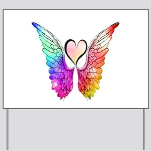 Angel Wings Heart Yard Sign