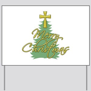 Christmas Tree with Christian Cross Yard Sign