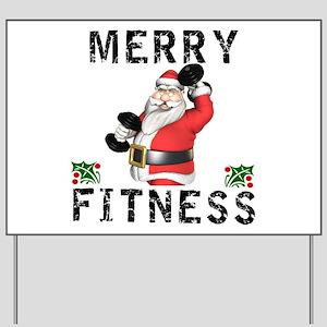 Merry Fitness Santa Yard Sign