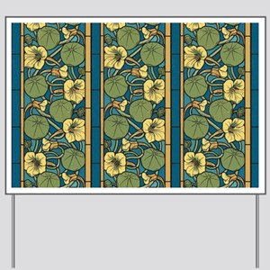 Blue and Yellow Floral Nouveau Yard Sign