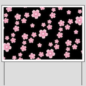Cherry Blossoms Black Pattern Yard Sign