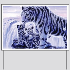 White Tigress And Her Cubs Yard Sign