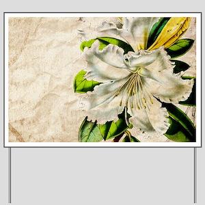 french botanical white lily Yard Sign