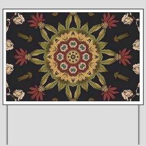 hipster vintage floral mandala Yard Sign