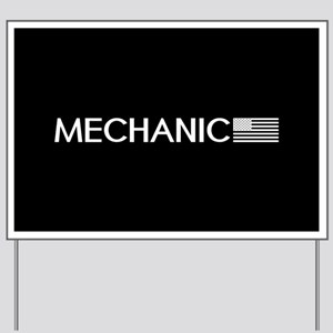Mechanic: American Flag (White) Yard Sign