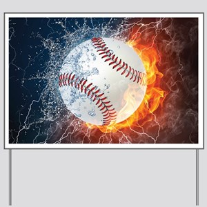 Baseball Ball Flames Splash Yard Sign