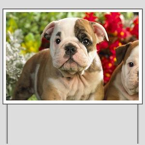 Cute English Bulldog Puppy Yard Sign