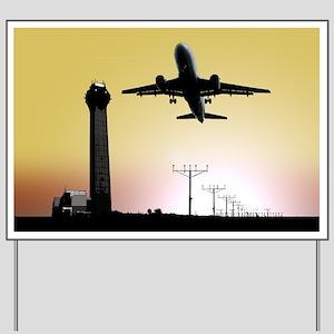 ATC: Air Traffic Control Tower & Plane Yard Sign