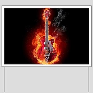 Flaming Guitar Yard Sign